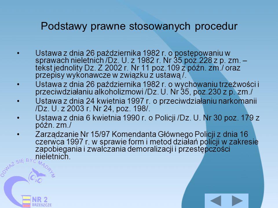 Podstawy prawne stosowanych procedur Ustawa z dnia 26 października 1982 r. o postępowaniu w sprawach nieletnich /Dz. U. z 1982 r. Nr 35 poz.228 z p. z