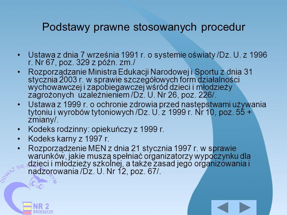 Podstawy prawne stosowanych procedur Ustawa z dnia 7 września 1991 r. o systemie oświaty /Dz. U. z 1996 r. Nr 67, poz. 329 z późn. zm./ Rozporządzanie
