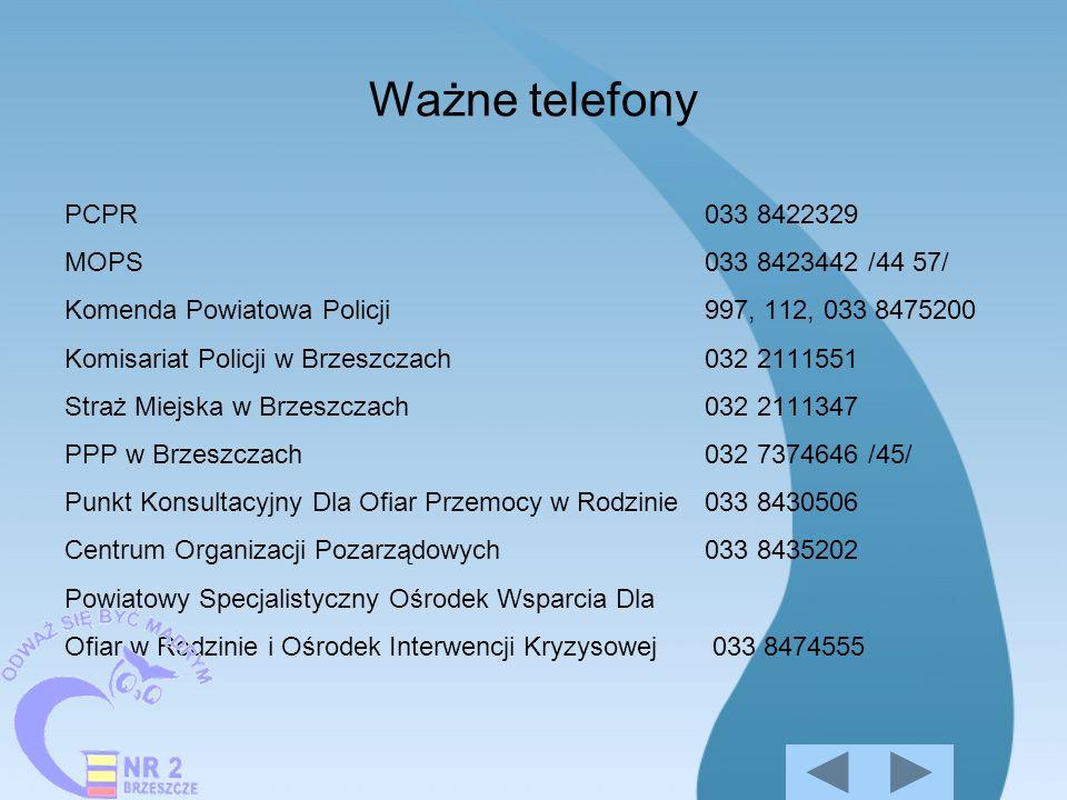 Ważne telefony PCPR033 8422329 MOPS033 8423442 /44 57/ Komenda Powiatowa Policji997, 112, 033 8475200 Komisariat Policji w Brzeszczach032 2111551 Stra