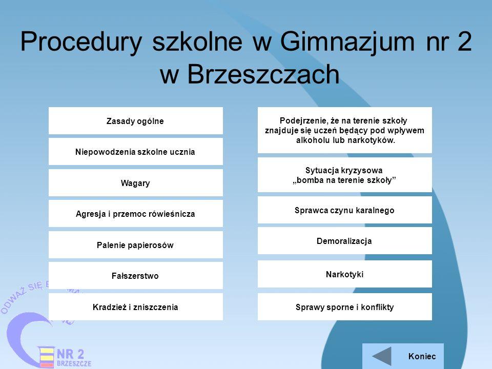 Procedury szkolne w Gimnazjum nr 2 w Brzeszczach Niepowodzenia szkolne ucznia Wagary Agresja i przemoc rówieśnicza Zasady ogólne Palenie papierosów Fa