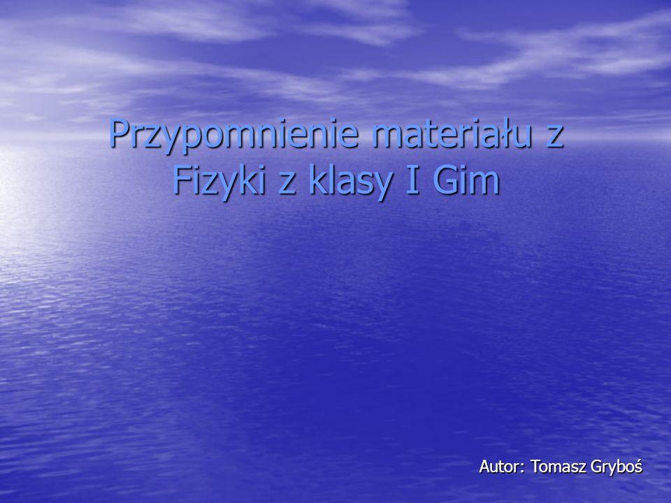 Przypomnienie materiału z Fizyki z klasy I Gim Autor: Tomasz Gryboś