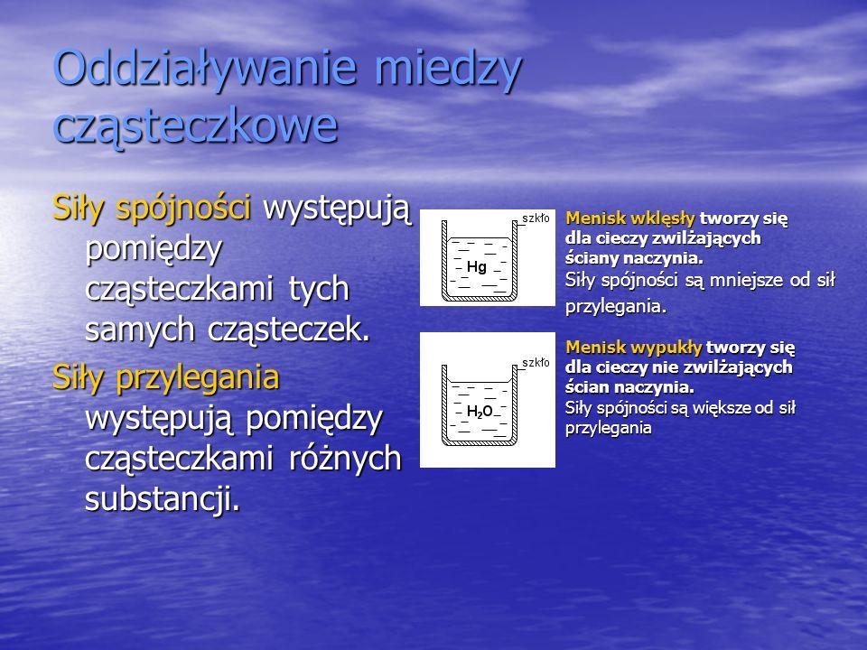 Oddziaływanie miedzy cząsteczkowe Siły spójności występują pomiędzy cząsteczkami tych samych cząsteczek. Siły przylegania występują pomiędzy cząsteczk