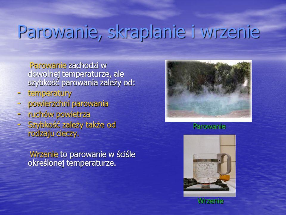 Parowanie, skraplanie i wrzenie Parowanie zachodzi w dowolnej temperaturze, ale szybkość parowania zależy od: Parowanie zachodzi w dowolnej temperatur
