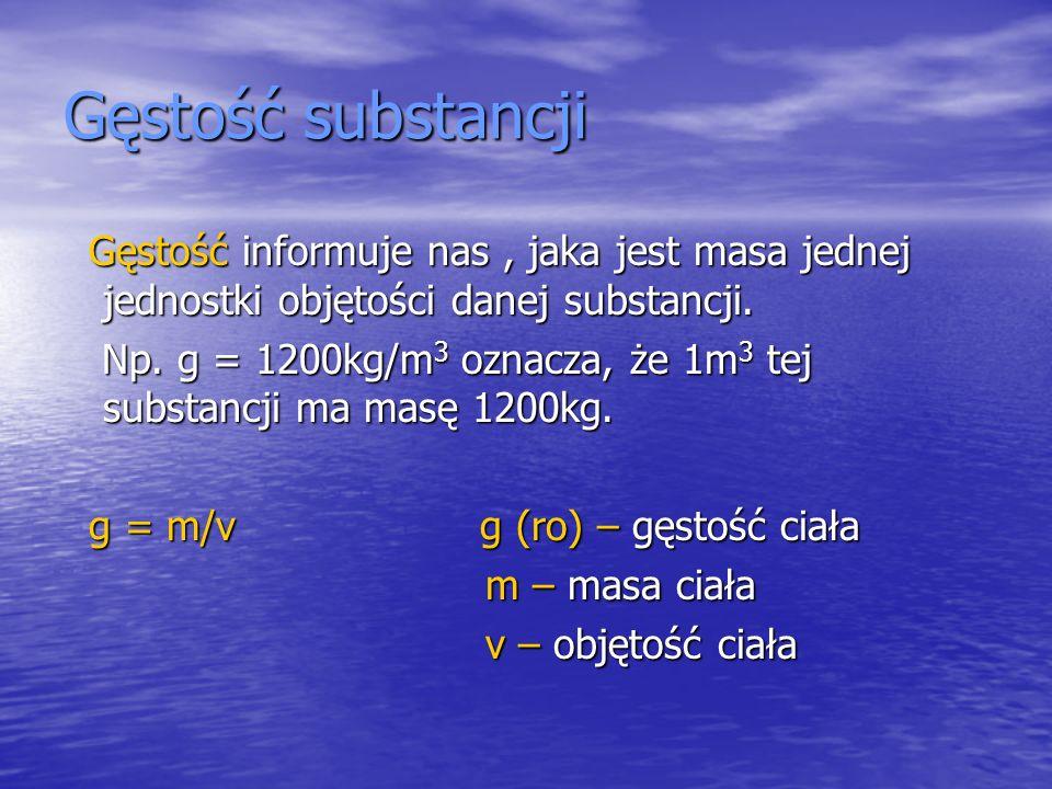 Gęstość substancji Gęstość informuje nas, jaka jest masa jednej jednostki objętości danej substancji. Gęstość informuje nas, jaka jest masa jednej jed