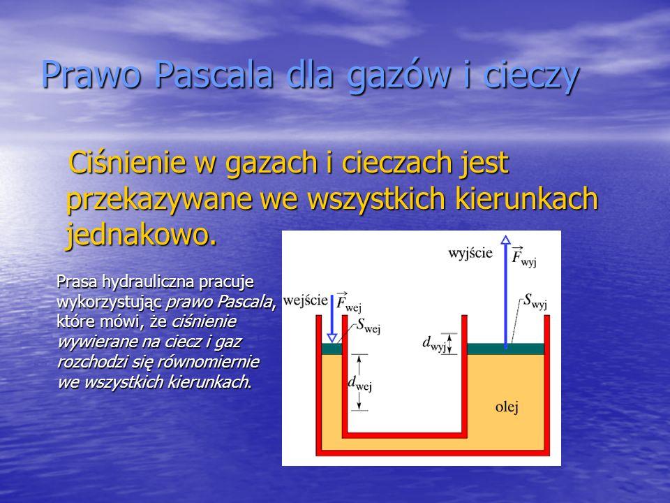 Prawo Pascala dla gazów i cieczy Ciśnienie w gazach i cieczach jest przekazywane we wszystkich kierunkach jednakowo. Ciśnienie w gazach i cieczach jes