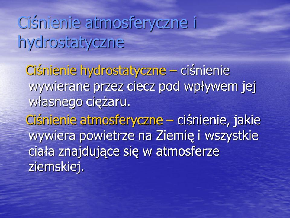Ciśnienie atmosferyczne i hydrostatyczne Ciśnienie hydrostatyczne – ciśnienie wywierane przez ciecz pod wpływem jej własnego ciężaru. Ciśnienie hydros