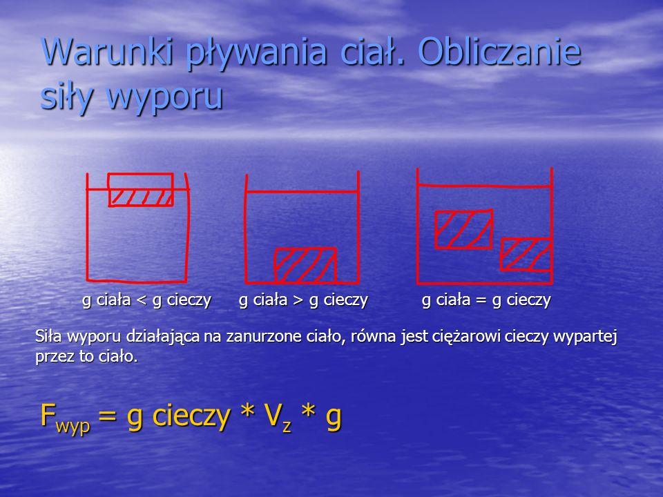 Warunki pływania ciał. Obliczanie siły wyporu F wyp = g cieczy * V z * g g ciała < g cieczy g ciała > g cieczy g ciała = g cieczy Siła wyporu działają