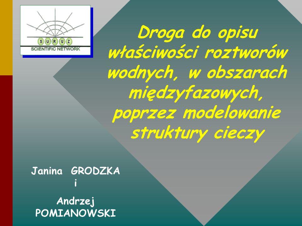 Droga do opisu właściwości roztworów wodnych, w obszarach międzyfazowych, poprzez modelowanie struktury cieczy Janina GRODZKA i Andrzej POMIANOWSKI