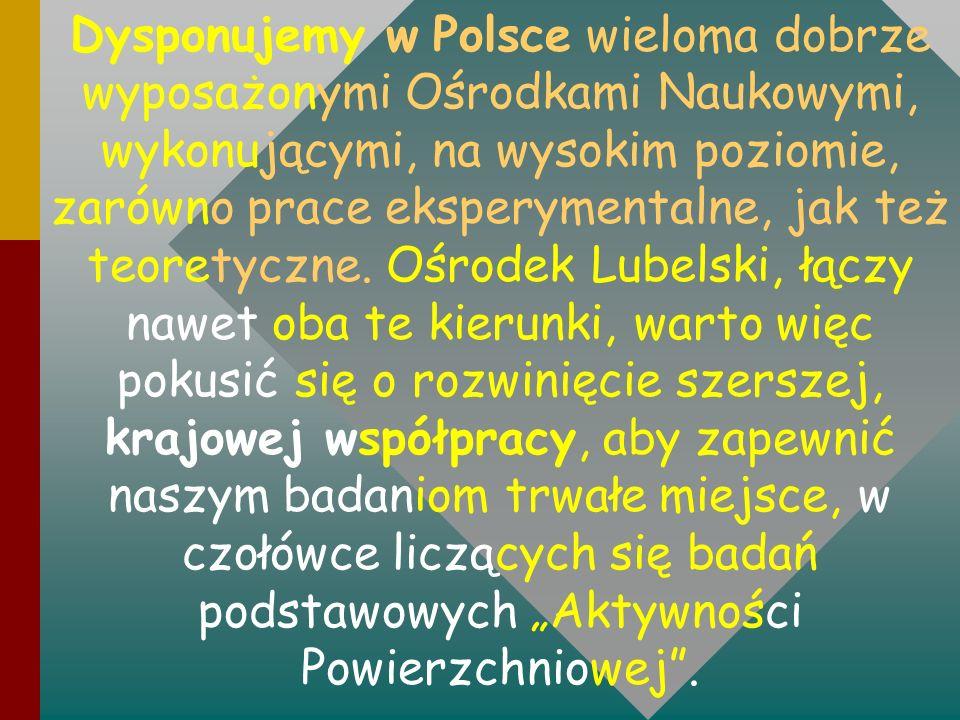 Dysponujemy w Polsce wieloma dobrze wyposażonymi Ośrodkami Naukowymi, wykonującymi, na wysokim poziomie, zarówno prace eksperymentalne, jak też teoret