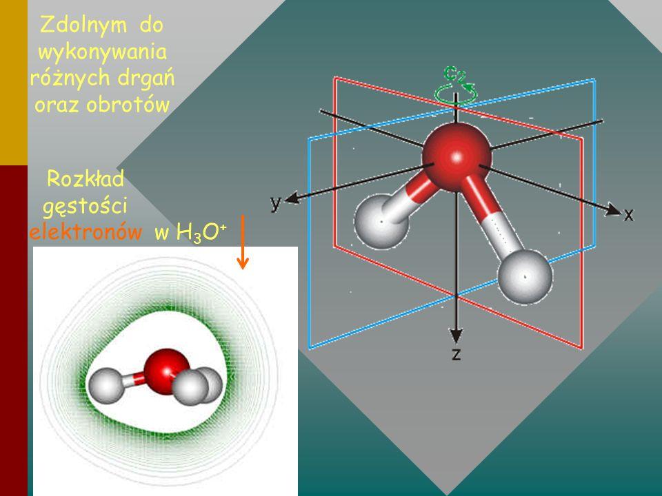 Zdolnym do wykonywania różnych drgań oraz obrotów Rozkład gęstości elektronów w H 3 O +