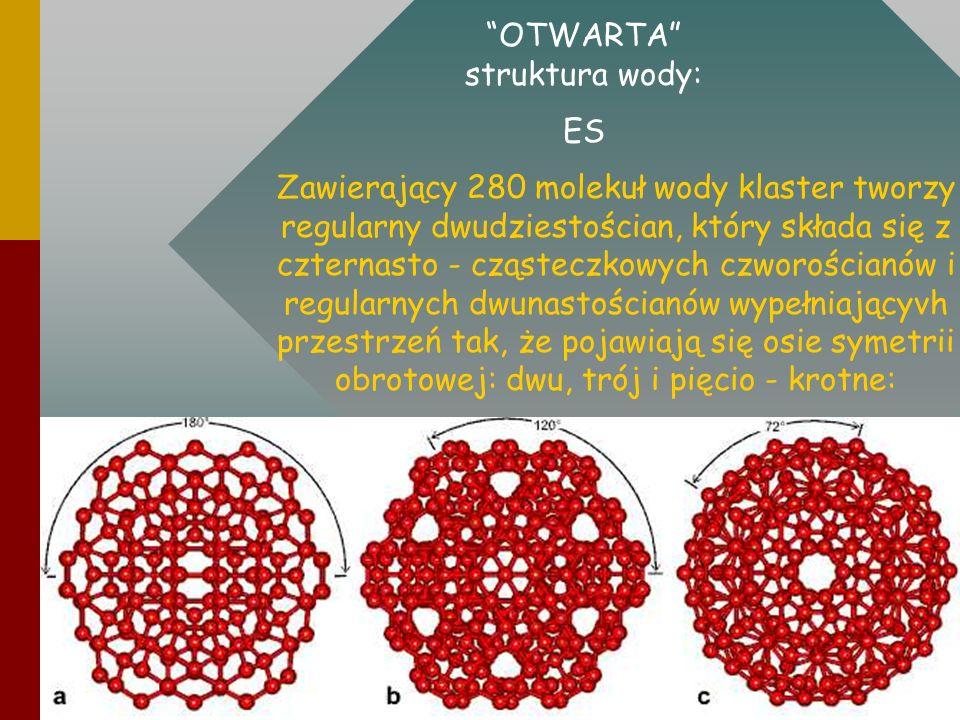 Zawierający 280 molekuł wody klaster tworzy regularny dwudziestościan, który składa się z czternasto - cząsteczkowych czworościanów i regularnych dwun