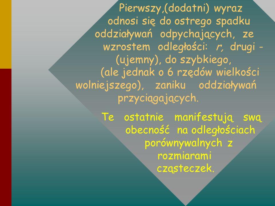 Pierwszy,(dodatni) wyraz odnosi się do ostrego spadku oddziaływań odpychających, ze wzrostem odległości: r, drugi - (ujemny), do szybkiego, (ale jedna