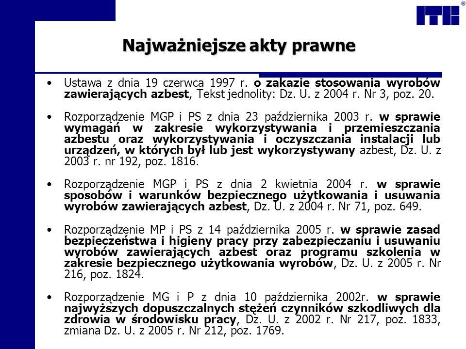 Najważniejsze akty prawne Ustawa z dnia 19 czerwca 1997 r. o zakazie stosowania wyrobów zawierających azbest, Tekst jednolity: Dz. U. z 2004 r. Nr 3,