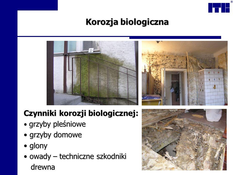Korozja biologiczna Czynniki korozji biologicznej: grzyby pleśniowe grzyby pleśniowe grzyby domowe grzyby domowe glony glony owady – techniczne szkodn