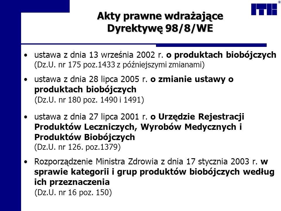 Akty prawne wdrażające Dyrektywę 98/8/WE ustawa z dnia 13 września 2002 r. o produktach biobójczych (Dz.U. nr 175 poz.1433 z późniejszymi zmianami) us