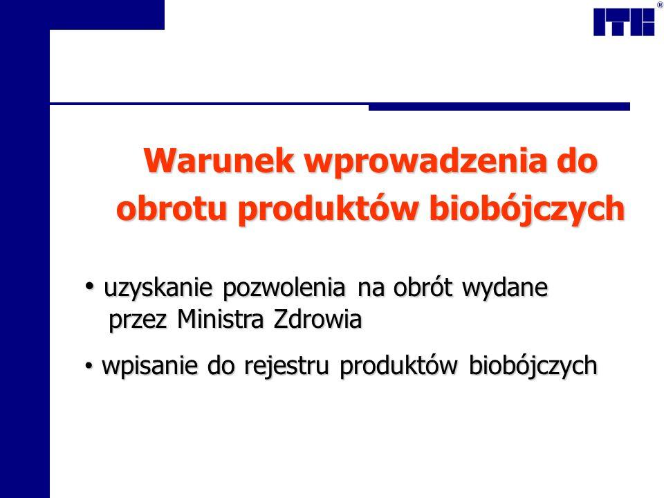 Warunek wprowadzenia do obrotu produktów biobójczych uzyskanie pozwolenia na obrót wydane przez Ministra Zdrowia uzyskanie pozwolenia na obrót wydane