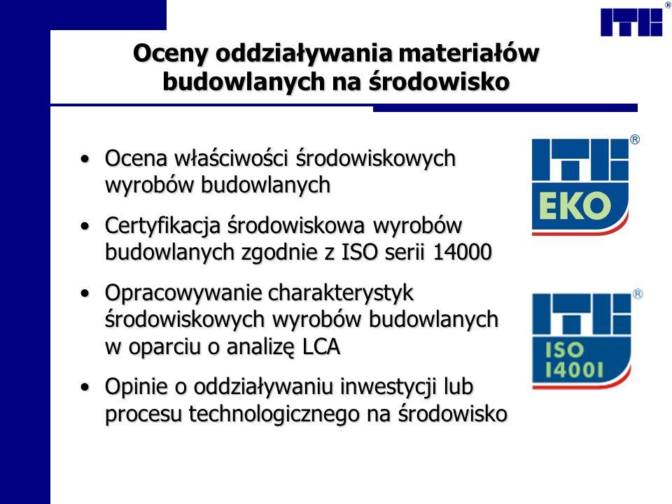 Oceny oddziaływania materiałów budowlanych na środowisko Ocena właściwości środowiskowych wyrobów budowlanychOcena właściwości środowiskowych wyrobów