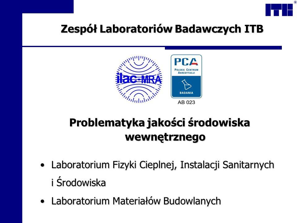 Zespół Laboratoriów Badawczych ITB Problematyka jakości środowiska wewnętrznego Laboratorium Fizyki Cieplnej, Instalacji SanitarnychLaboratorium Fizyk