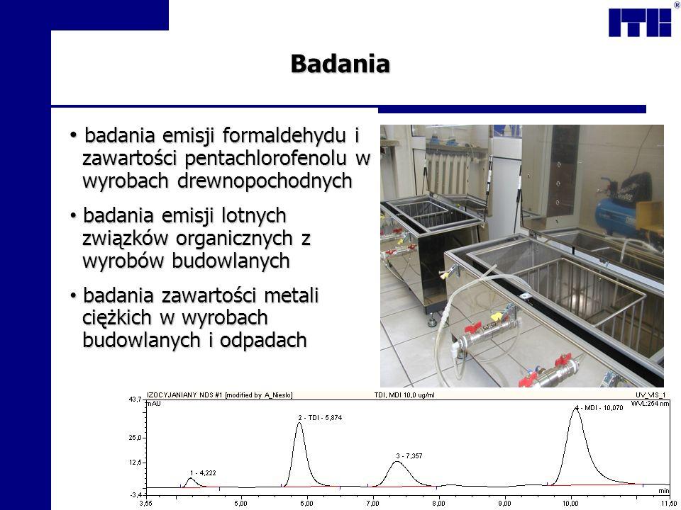 Badania badania emisji formaldehydu i zawartości pentachlorofenolu w wyrobach drewnopochodnych badania emisji formaldehydu i zawartości pentachlorofen