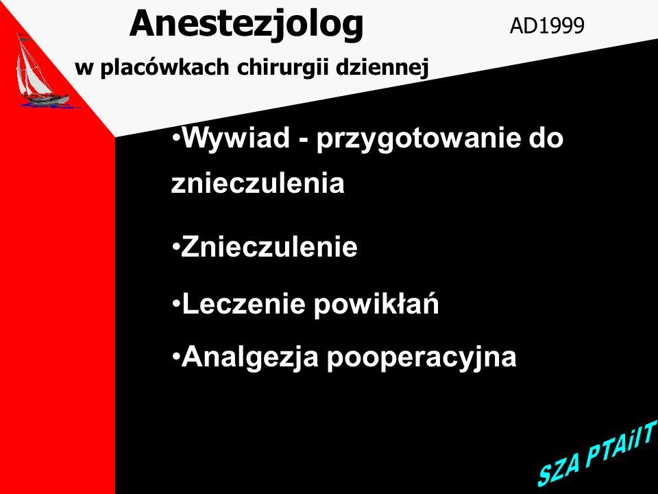 Lekarz zabiegowy w placówkach chirurgii dziennej AD1999 akwizycja i dobór pacjenta zatrudnienie dobrego anestezjologa wybór techniki zabiegu sprawne w