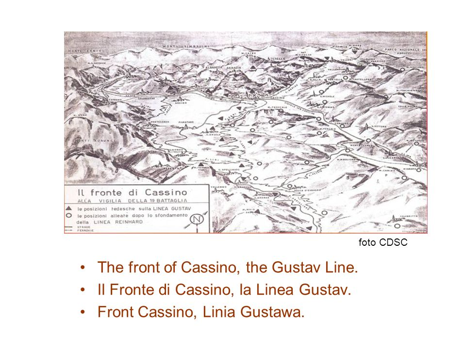 The front of Cassino, the Gustav Line.Il Fronte di Cassino, la Linea Gustav.