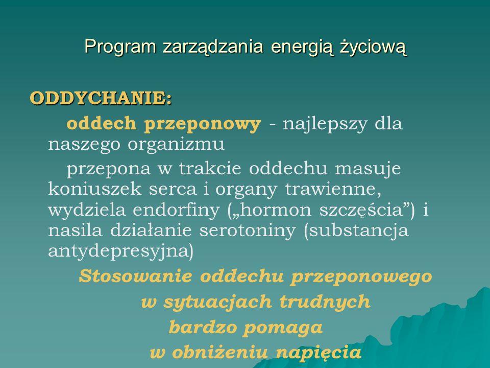 Program zarządzania energią życiową ODDYCHANIE: oddech przeponowy - najlepszy dla naszego organizmu przepona w trakcie oddechu masuje koniuszek serca