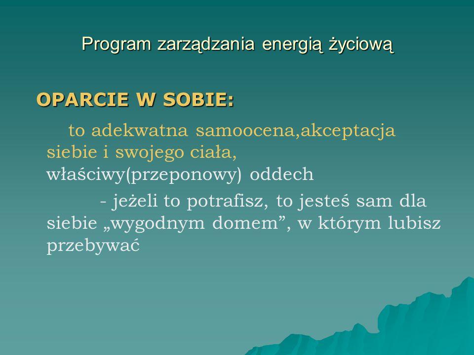 Program zarządzania energią życiową OPARCIE W SOBIE: OPARCIE W SOBIE: to adekwatna samoocena,akceptacja siebie i swojego ciała, właściwy(przeponowy) o