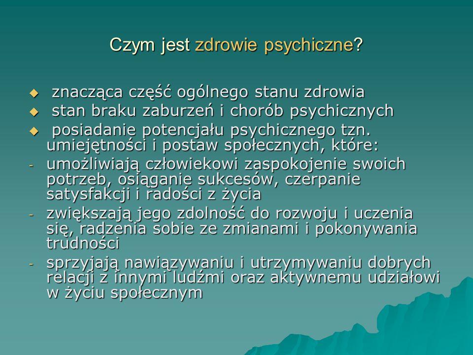 Czym jest zdrowie psychiczne? znacząca część ogólnego stanu zdrowia znacząca część ogólnego stanu zdrowia stan braku zaburzeń i chorób psychicznych st