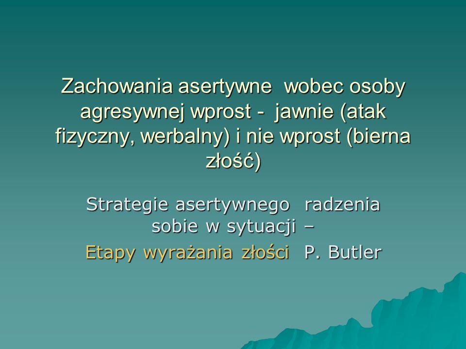 Zachowania asertywne wobec osoby agresywnej wprost - jawnie (atak fizyczny, werbalny) i nie wprost (bierna złość) Strategie asertywnego radzenia sobie