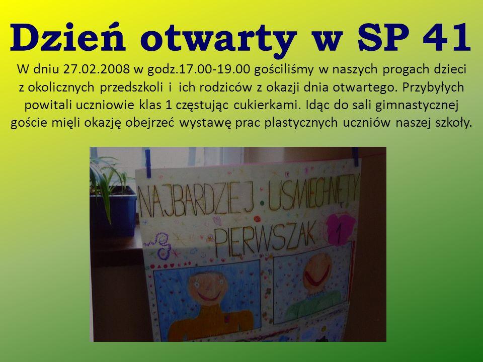 Dzień otwarty w SP 41 W dniu 27.02.2008 w godz.17.00-19.00 gościliśmy w naszych progach dzieci z okolicznych przedszkoli i ich rodziców z okazji dnia otwartego.