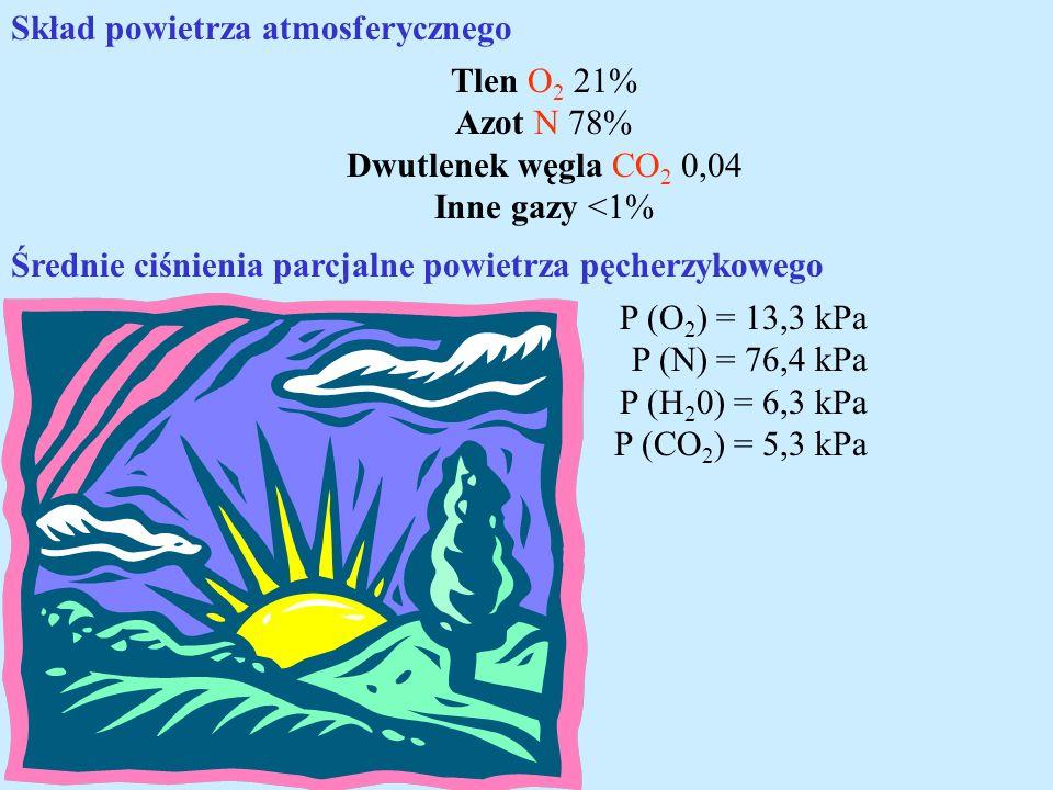 Skład powietrza atmosferycznego Tlen O 2 21% Azot N 78% Dwutlenek węgla CO 2 0,04 Inne gazy <1% Średnie ciśnienia parcjalne powietrza pęcherzykowego P