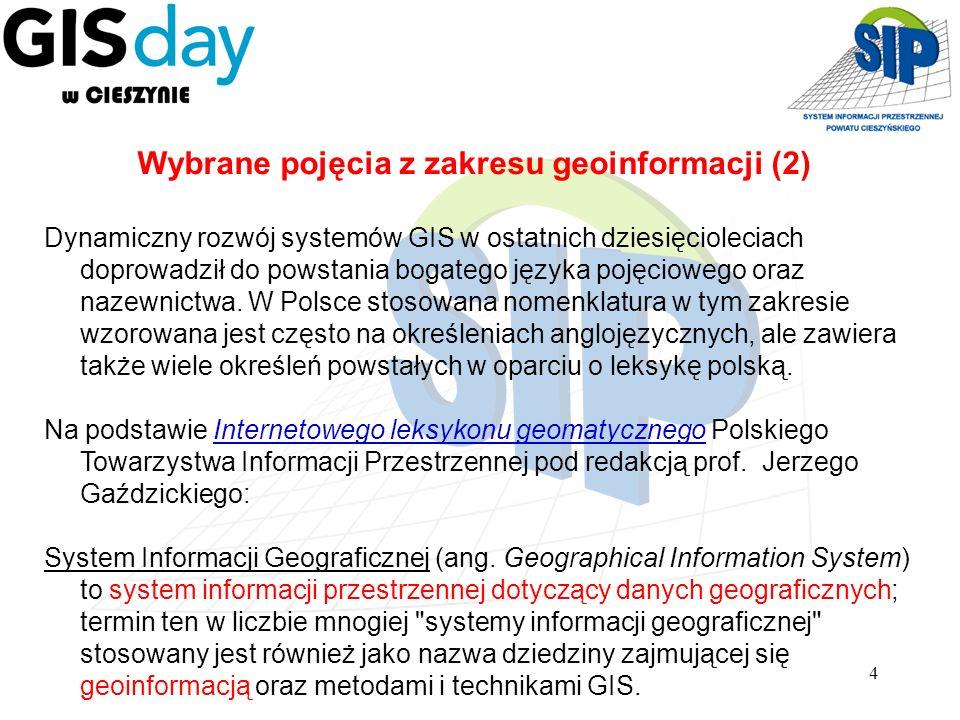 4 Dynamiczny rozwój systemów GIS w ostatnich dziesięcioleciach doprowadził do powstania bogatego języka pojęciowego oraz nazewnictwa. W Polsce stosowa