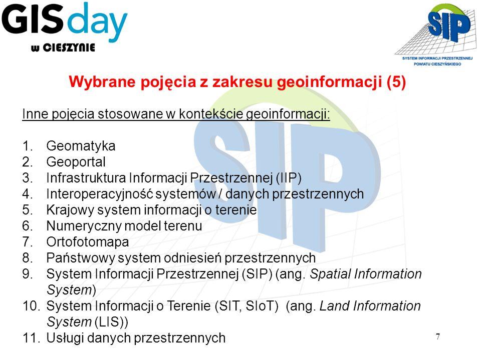 7 Inne pojęcia stosowane w kontekście geoinformacji: 1.Geomatyka 2.Geoportal 3.Infrastruktura Informacji Przestrzennej (IIP) 4.Interoperacyjność syste