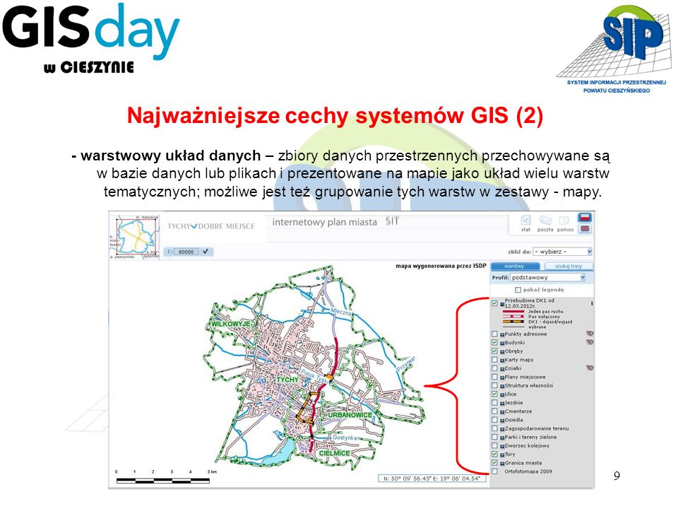 9 - warstwowy układ danych – zbiory danych przestrzennych przechowywane są w bazie danych lub plikach i prezentowane na mapie jako układ wielu warstw