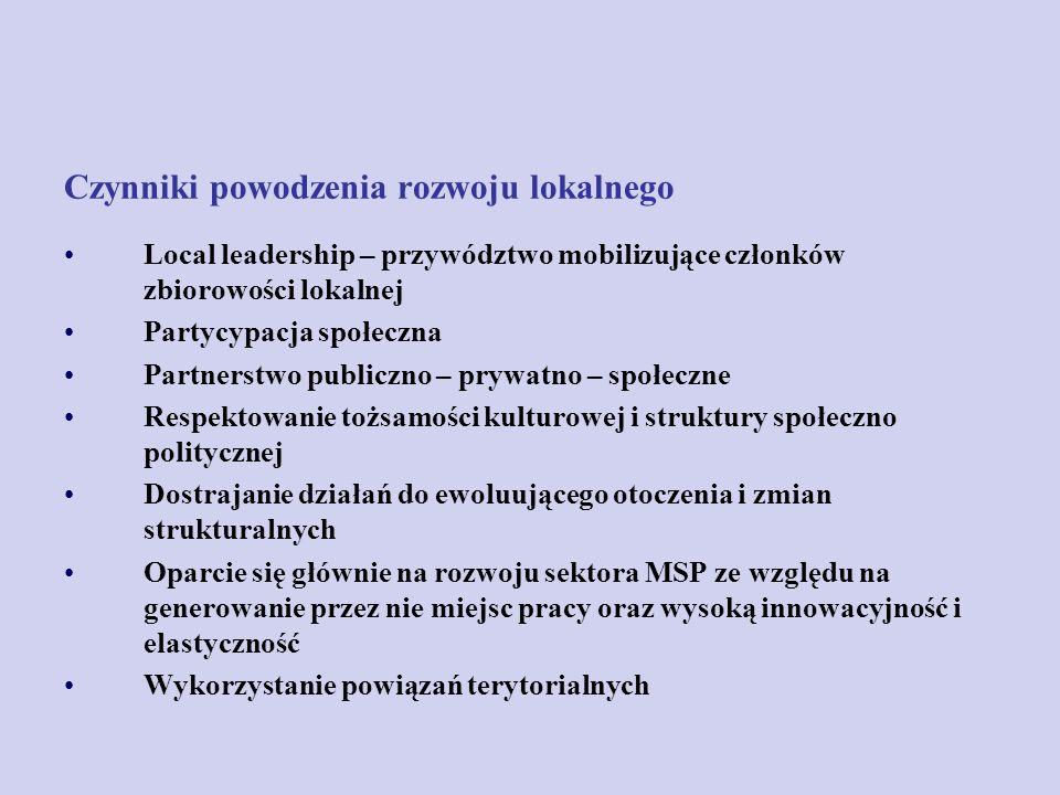 Czynniki powodzenia rozwoju lokalnego Local leadership – przywództwo mobilizujące członków zbiorowości lokalnej Partycypacja społeczna Partnerstwo pub