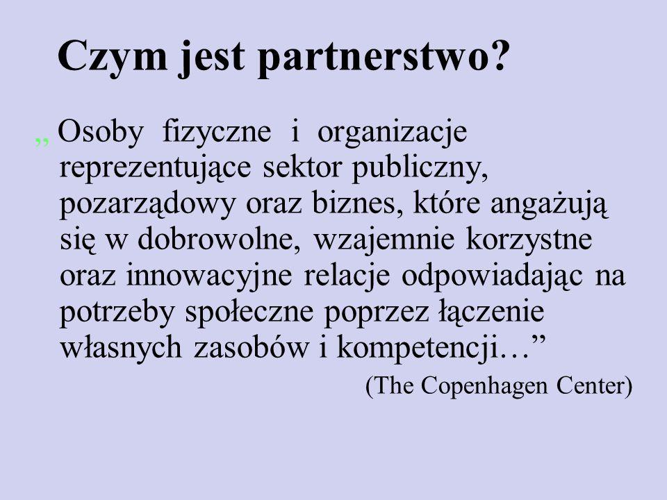 Czym jest partnerstwo? Osoby fizyczne i organizacje reprezentujące sektor publiczny, pozarządowy oraz biznes, które angażują się w dobrowolne, wzajemn