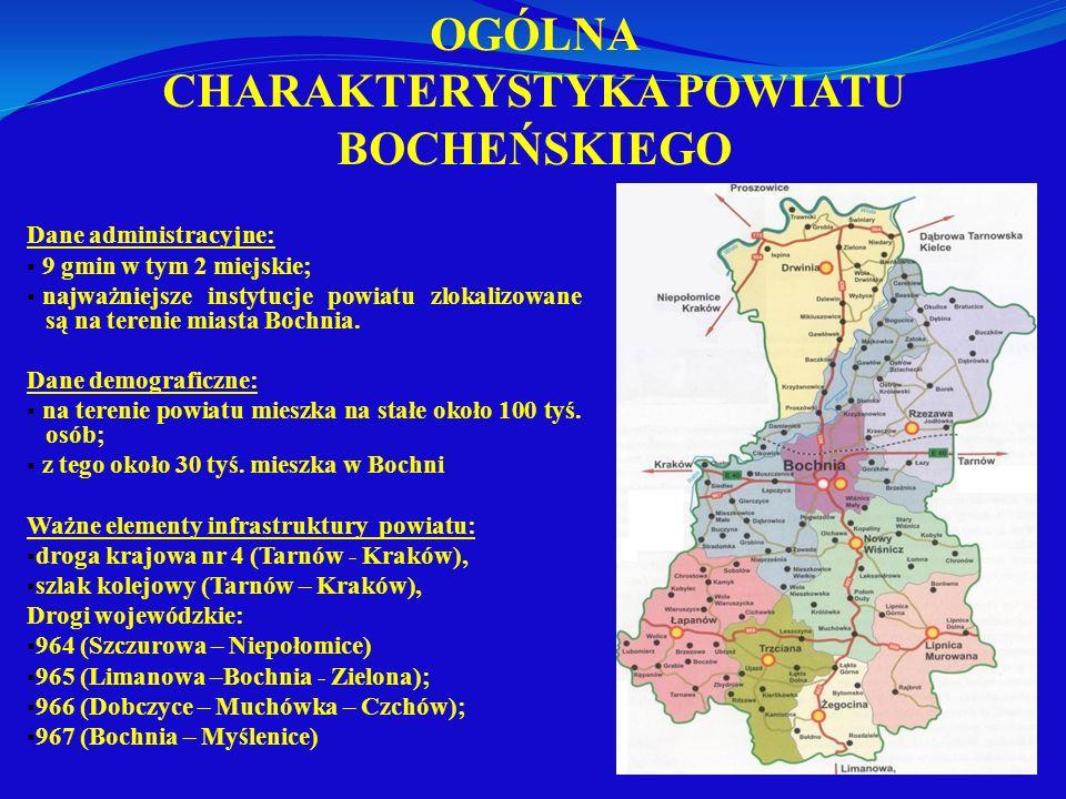 OGÓLNA CHARAKTERYSTYKA POWIATU BOCHEŃSKIEGO Dane administracyjne: 9 gmin w tym 2 miejskie; najważniejsze instytucje powiatu zlokalizowane są na tereni