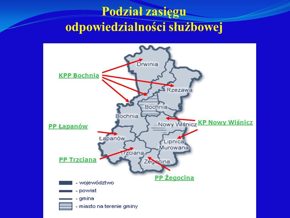 Podział zasięgu odpowiedzialności służbowej KPP Bochnia PP Łapanów PP Trzciana KP Nowy Wiśnicz PP Żegocina