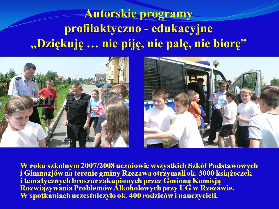 Autorskie programy profilaktyczno - edukacyjne Dziękuję … nie piję, nie palę, nie biorę W roku szkolnym 2007/2008 uczniowie wszystkich Szkół Podstawow
