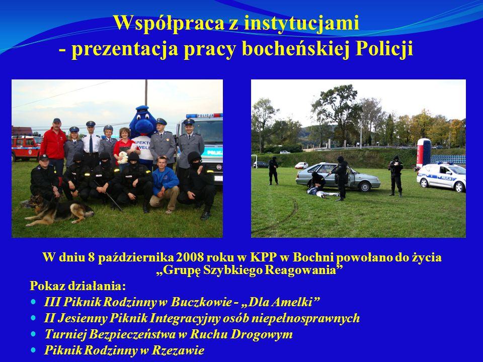 Współpraca z instytucjami - prezentacja pracy bocheńskiej Policji W dniu 8 października 2008 roku w KPP w Bochni powołano do życia Grupę Szybkiego Rea