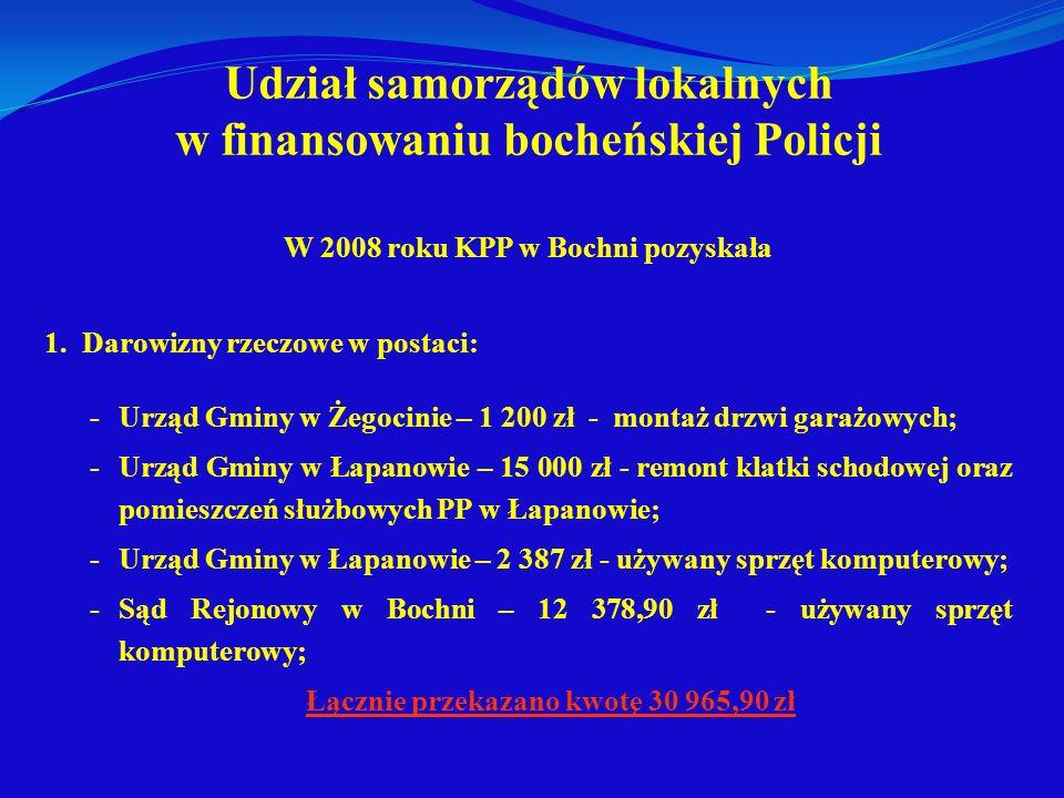 Udział samorządów lokalnych w finansowaniu bocheńskiej Policji W 2008 roku KPP w Bochni pozyskała 1. Darowizny rzeczowe w postaci: -Urząd Gminy w Żego