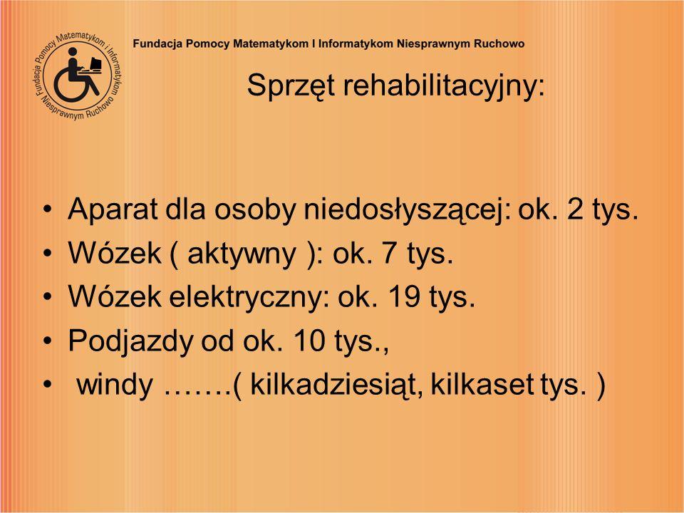 Sprzęt rehabilitacyjny: Aparat dla osoby niedosłyszącej: ok. 2 tys. Wózek ( aktywny ): ok. 7 tys. Wózek elektryczny: ok. 19 tys. Podjazdy od ok. 10 ty