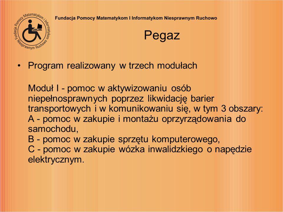 Pegaz Program realizowany w trzech modułach Moduł I - pomoc w aktywizowaniu osób niepełnosprawnych poprzez likwidację barier transportowych i w komuni