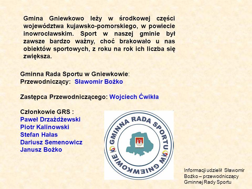 Gmina Gniewkowo leży w środkowej części województwa kujawsko-pomorskiego, w powiecie inowrocławskim. Sport w naszej gminie był zawsze bardzo ważny, ch
