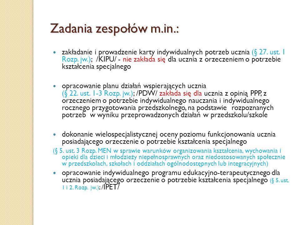 Zadania zespołów m.in.: zakładanie i prowadzenie karty indywidualnych potrzeb ucznia (§ 27. ust. 1 Rozp. jw.); /KIPU/ - nie zakłada się dla ucznia z o