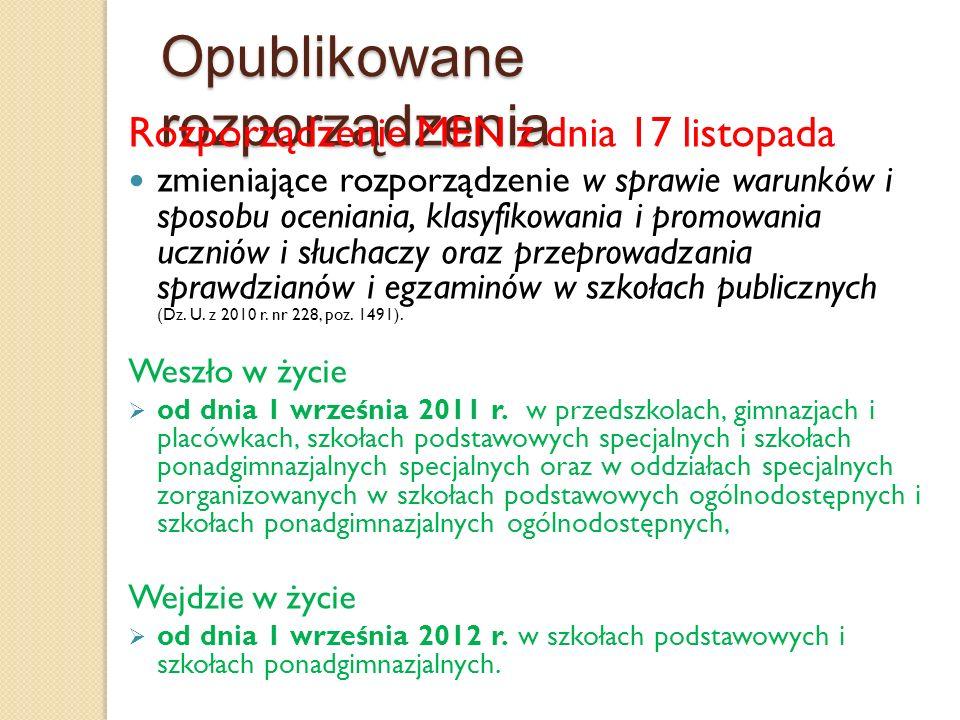 Zadania nauczycieli specjalistów Rozp.MEN z dnia 17 listopada 2010 r.