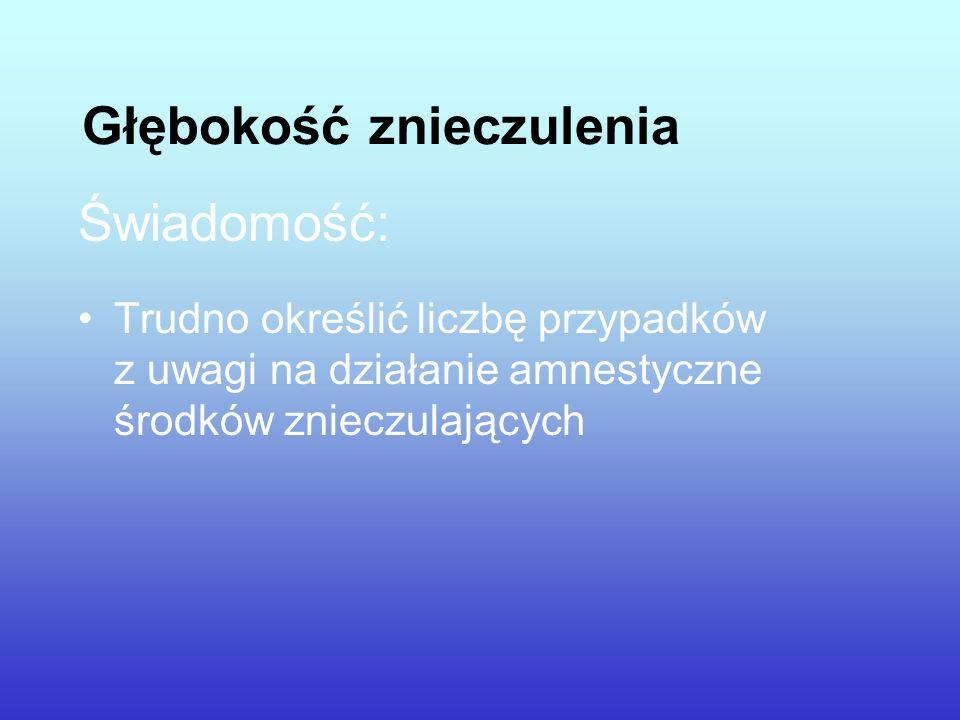 Głębokość znieczulenia Świadomość: Trudno określić liczbę przypadków z uwagi na działanie amnestyczne środków znieczulających