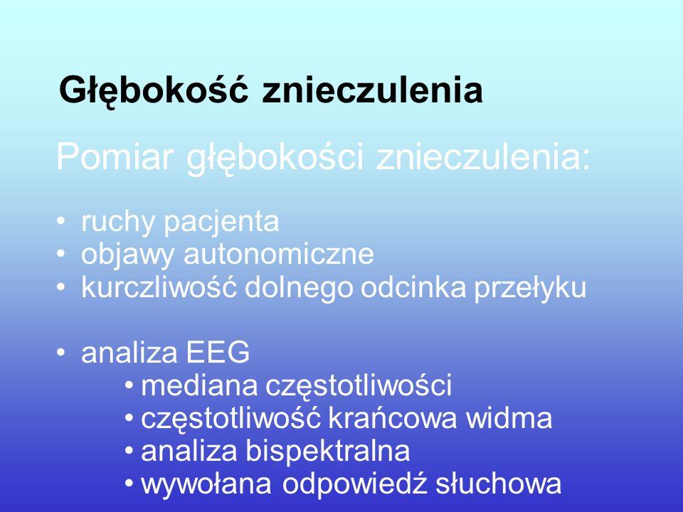 Głębokość znieczulenia Pomiar głębokości znieczulenia: ruchy pacjenta objawy autonomiczne kurczliwość dolnego odcinka przełyku analiza EEG mediana czę