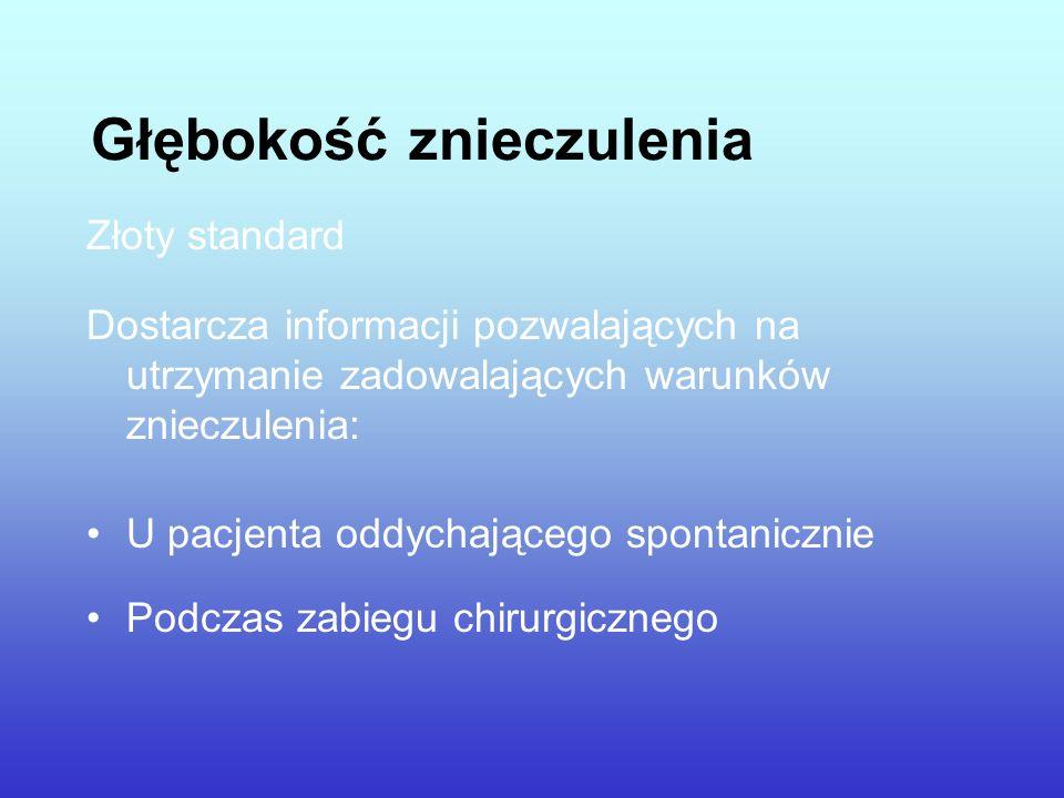 Głębokość znieczulenia Złoty standard Dostarcza informacji pozwalających na utrzymanie zadowalających warunków znieczulenia: U pacjenta oddychającego