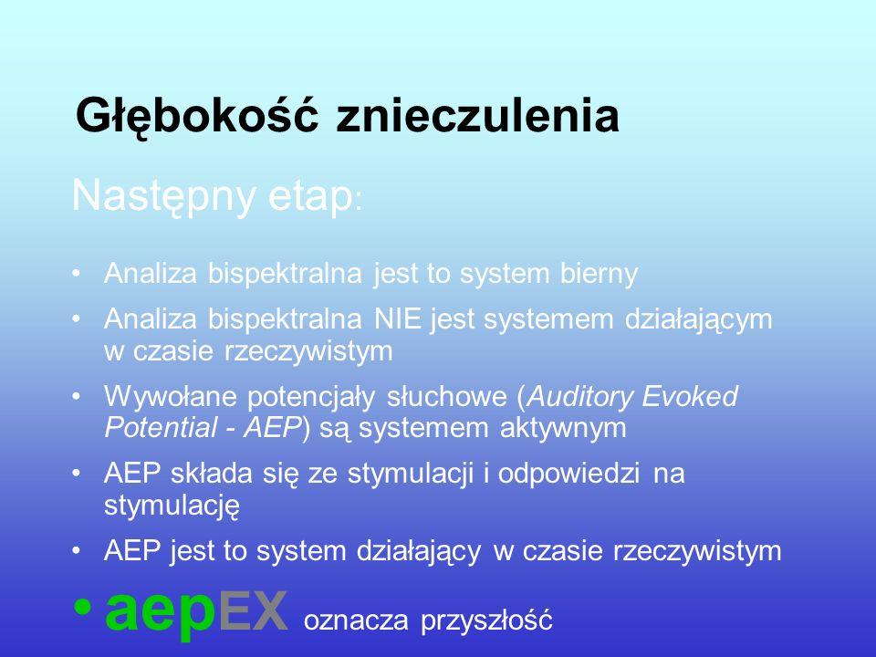 Głębokość znieczulenia Następny etap : Analiza bispektralna jest to system bierny Analiza bispektralna NIE jest systemem działającym w czasie rzeczywi